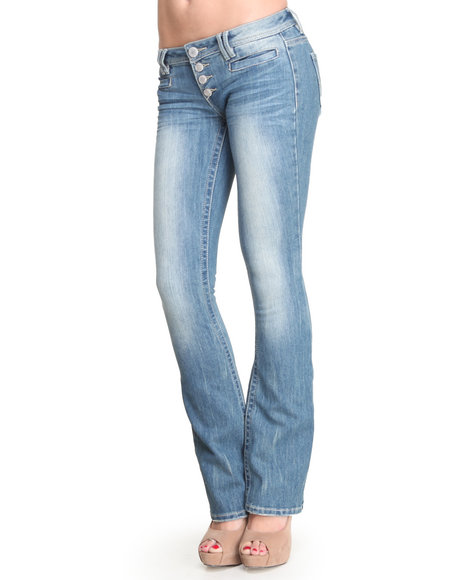 Almost Famous Light Wash Slim Flare 4-Button Jean