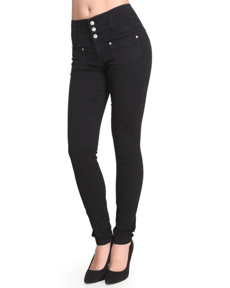 Almost Famous - Women Black High Waisted Stretch Twill Skinny Pant