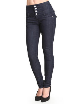 Basic Essentials - High Waisted Flap Pockets Skinny Jean