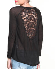 Fashion Tops - Beyond Print Hi-Lo Lace Back Top