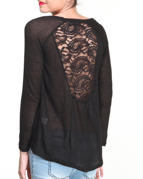 Almost Famous - Women Black Beyond Print Hi-Lo Lace Back Top - $6.99