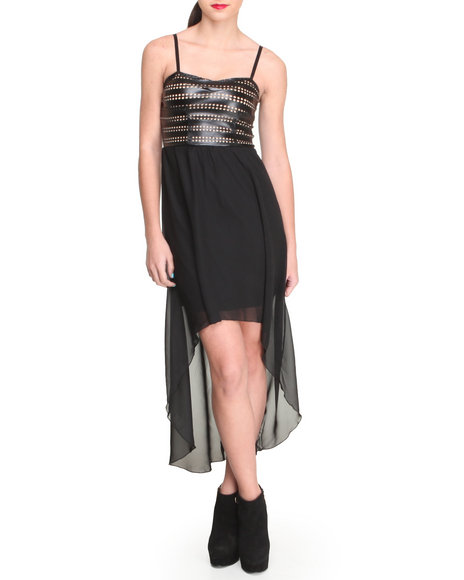 Almost Famous - Women Black Lazer Cutout Vegan Leather Bust Hi-Lo Hem Chiffon Dress - $10.99
