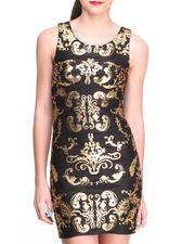 Dresses - Metallic Scroll Print Bodycon Dress