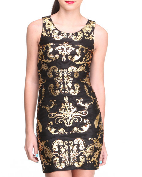 Almost Famous Black,Gold Metallic Scroll Print Bodycon Dress