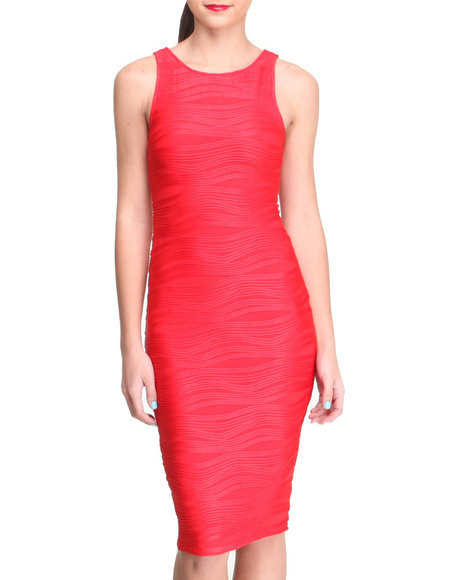 Almost Famous - Women Red Wave Textured Midi Sheath Dress - $18.99