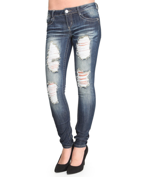 Almost Famous - Women Dark Wash Distructed Skinny Jean