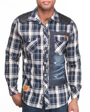Men - Yarn-Dyed Plaid Button-Down w/ Sueded PU