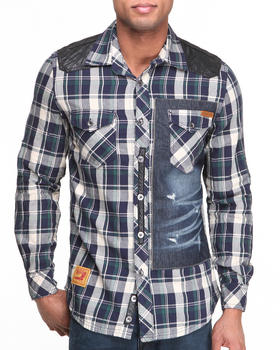 Heritage America - Yarn-Dyed Plaid Button-Down w/ Sueded PU