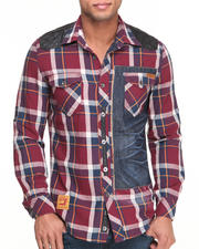 Button-downs - Yarn - Dyed Plaid Button-Down w/ Sueded P U