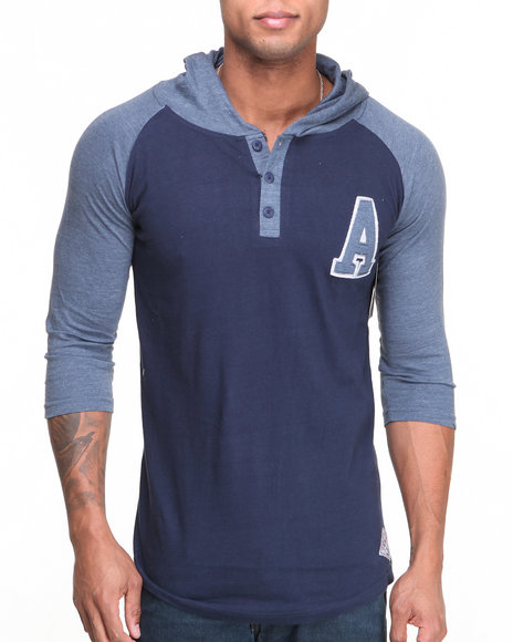 Buyers Picks - Men Navy Team A Hooded Raglan Henley