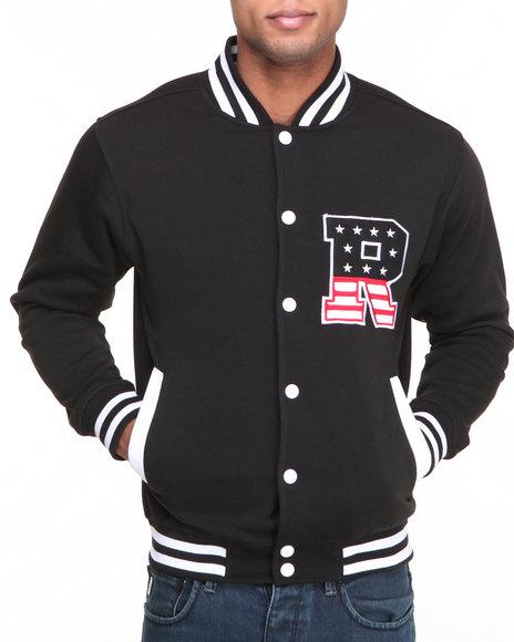 Buyers Picks - Men Black T H C Flag - R Fleece Varsity Jacket