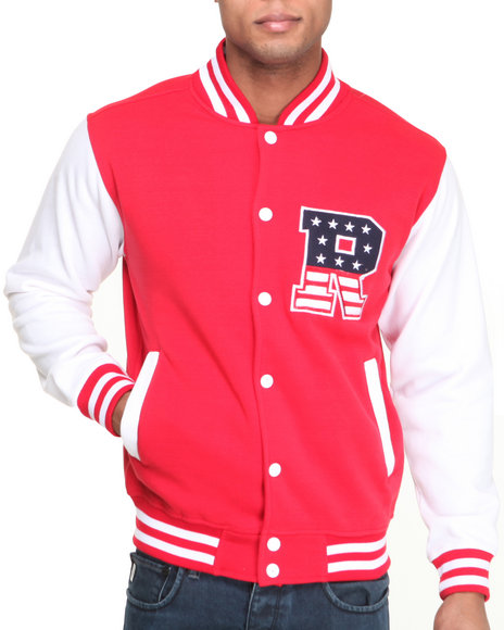 Buyers Picks - Men Red T H C Flag - R Fleece Varsity Jacket