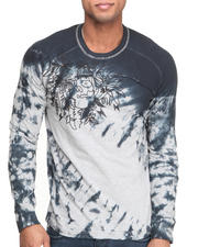 Men - Ornate Embroidered Tie - Dye L/S Knit Tee