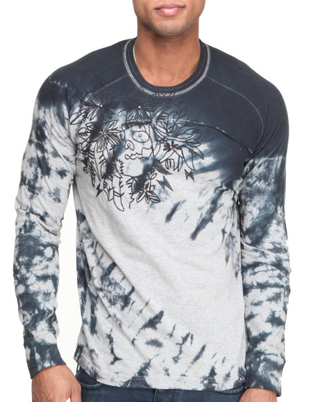 Buyers Picks - Men Charcoal Ornate Embroidered Tie - Dye L/S Knit Tee