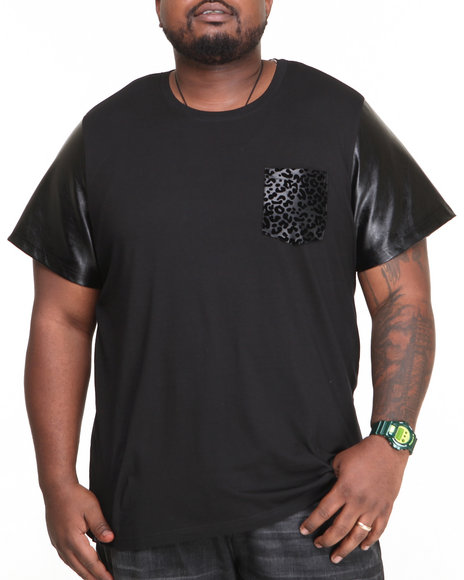 Akademiks - Men Black Swinger Faux Leather Leopard Print S/S Tee - $22.99