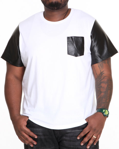 Akademiks - Men White Cooper Faux Leather Sleeve S/S Tee - $14.99