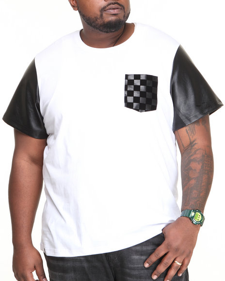 Akademiks White Pantera Faux Leather Sleeve Tee