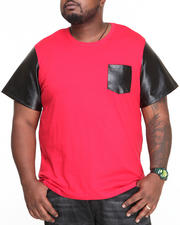 Shirts - Cooper Faux Leather sleeve S/S Tee