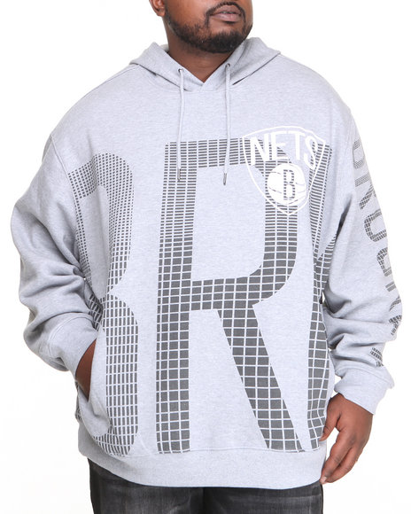 Nba, Mlb, Nfl Gear - Men Grey Brooklyn Nets Grater Pullover Hoodie (B&T)