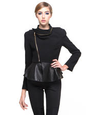 Jackets & Coats - Frill Asymmetrical Jacket w/ Faux Leather Detail