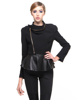 Jackets & Coats - Frill  Jacket w/ Faux Leather Detail