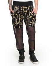 Pants - Trainers Gold Drip Dot Sweatpant w/ Mesh Leg