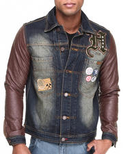 Outerwear - Denim Jacket W/ Quilted PU Sleeves
