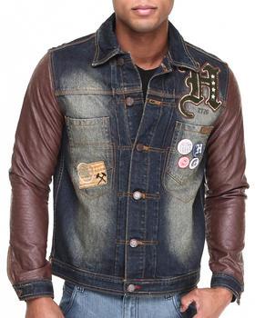 Heritage America - Denim Jacket W/ Quilted PU Sleeves
