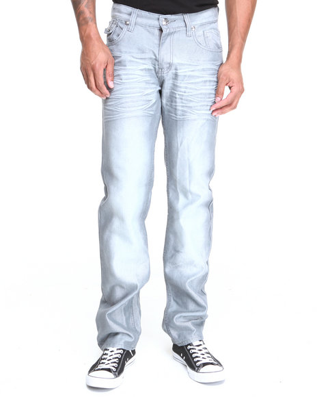Basic Essentials - Men Grey Flapback Shine Denim Jeans