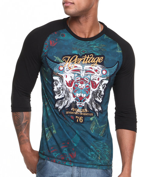 Heritage America Black Heritage 3/4 Raglan All-Over Printed Tee
