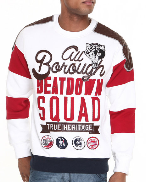Heritage America - Men White Beatdown Squad Crewneck Sweatshirt