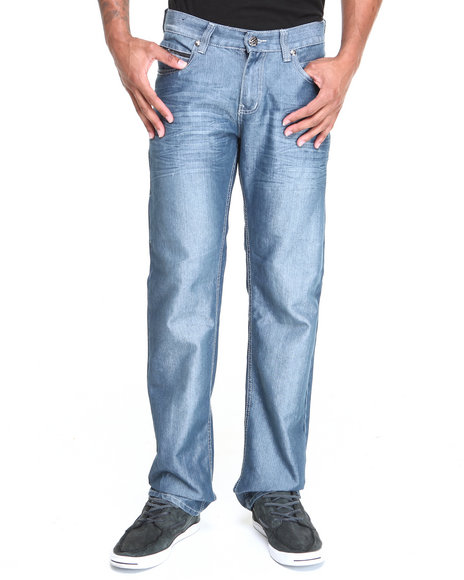 Basic Essentials - Men Medium Wash Master Shine Flapback Denim Jeans
