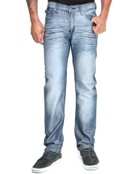 Buyers Picks - Men Medium Wash Hatched Denim Jeans
