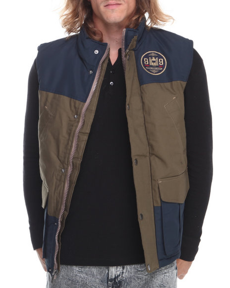 Rocawear - Men Navy,Tan Canvas Nylon Vest