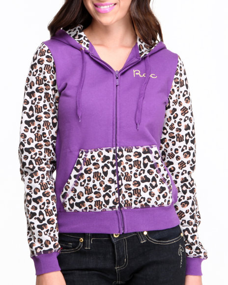 Rocawear Purple Untamed Zip Front Leopard Colorblock Hoody