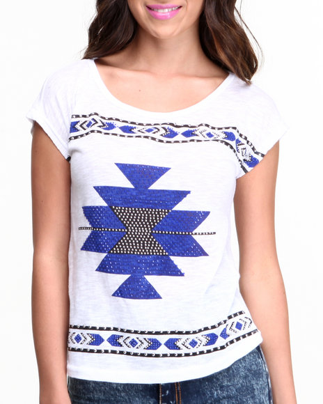 Fashion Lab White Aztec Print Top W/ Keyhole Back Detail