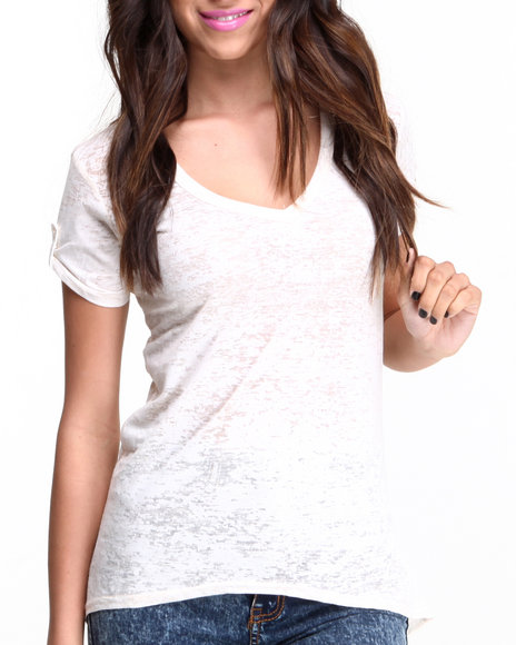 Fashion Lab - Women Ivory Burnout T-Back Hi-Lo Tank W/ Front Pocket - $11.99