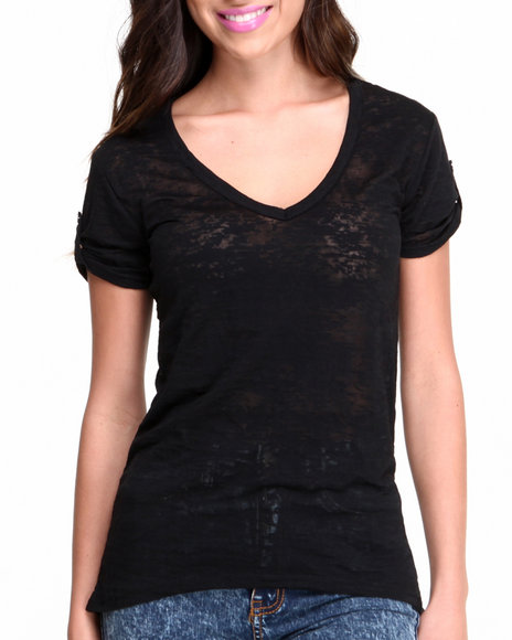 Fashion Lab - Women Black Burnout T-Back Hi-Lo Tank W/ Front Pocket - $11.99
