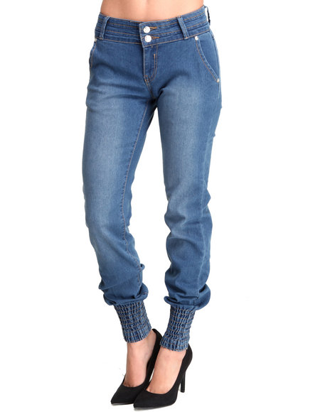 Apple Bottoms - Women Medium Wash Smocked Ankle Caviar Pocket Skinny Jean