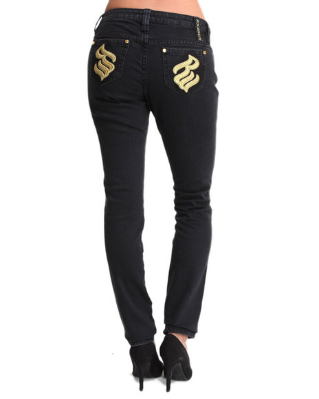 Rocawear Black Roc Overdyed Gold Trim Skinny Jean