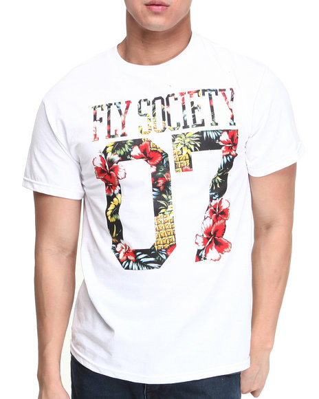 Flysociety - Men White Tropic High T-Shirt - $19.99