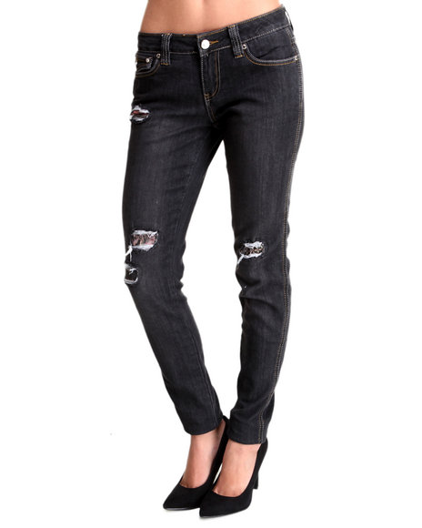 Rocawear - Women Black Denim Tear Skinny Jean