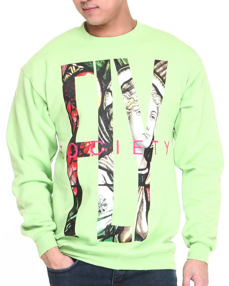 Flysociety Green Fly Crew Sweater