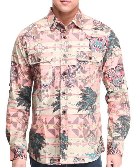 Heritage America Khaki Heritage All-Over Printed Button-Down
