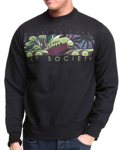 Flysociety - Men Black Life Off Crew Sweater