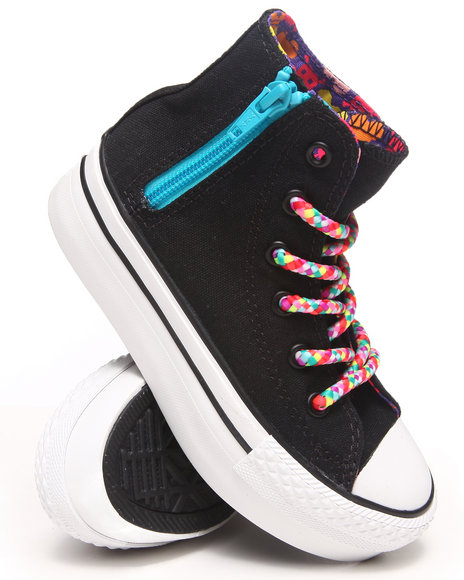 Converse Girls Black Chuck Taylor All Star Platform Zip Sneakers (11-6)