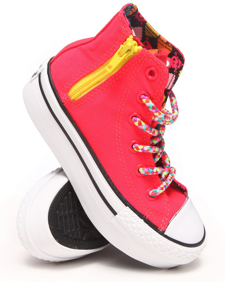 Converse Girls Pink Chuck Taylor All Star Platform Zip Sneakers (11-6)