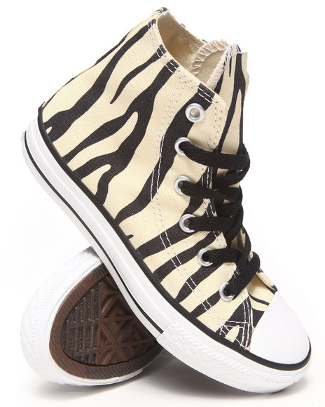Converse Girls Cream Chuck Taylor All Star Zebra Sneakers (11-6)