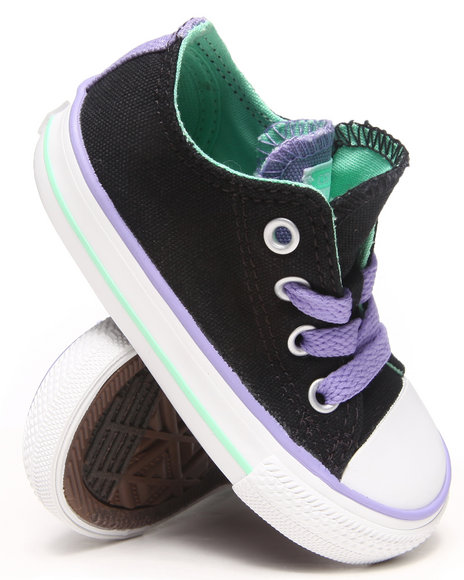 Converse Girls Black Chuck Taylor All Star Double Tongue Sneakers (5-10)