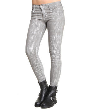 True Religion - Tear Drop Metallic Coated Low Rise Skinny Jean